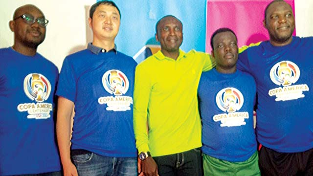 Members of Team StarTimes before a recent novelty match against journalists in Lagos.