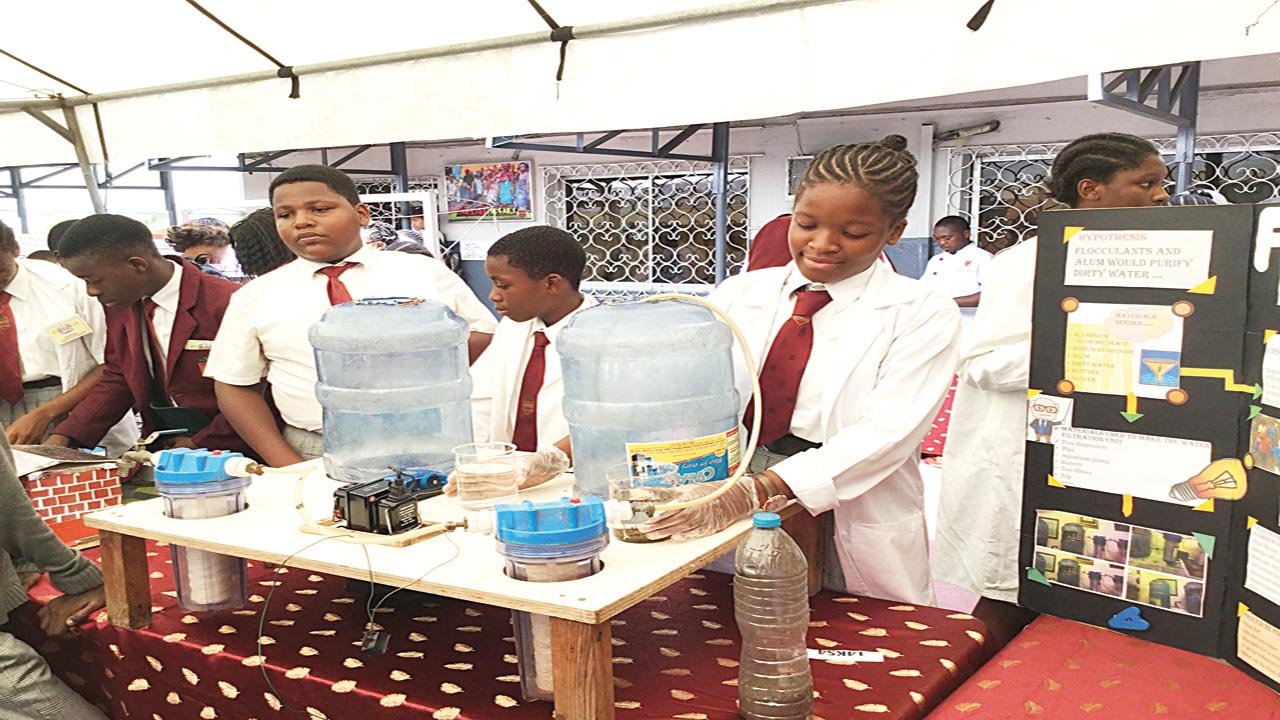 Ebuka Anyiam-Osigwe, Year Nine (left); Ovita Jemitola, Year Nine; Chantal Anyiam-Osigwe, Year 10, all of Greensprings School, Lagos, during the school's Science, Technology, Engineering and Mathematics (STEM) Fair, which took place at the Anthony Campus...recently PHOTO: ENO-ABASI SUNDAY