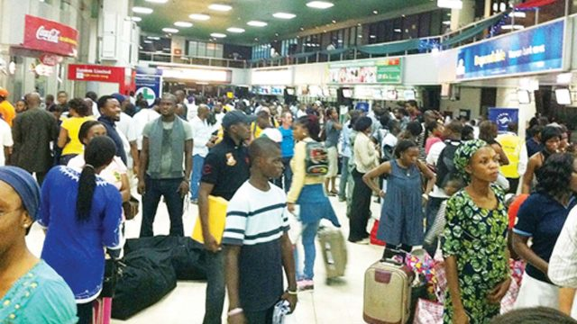 Stranded passengers at an airport terminal in Lagos