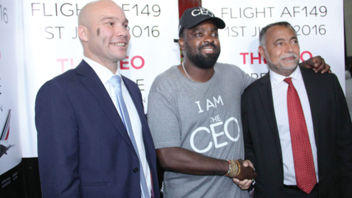 Commercial Manager, Air FranceKLM Arthur Dieffenthaler (right); Kunle Afolayan and Jean Raoul Tauzin, General Manager, Air FranceKLM