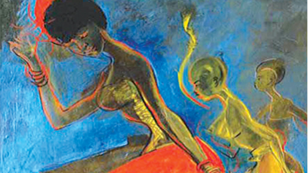 Painting, Obitun Dancers by Ben Enwonwu