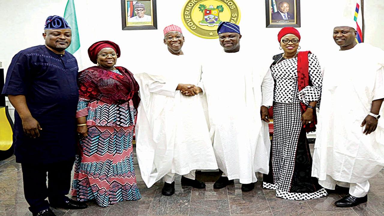 Speaker, Lagos State House of Assembly, Mudashiru Obasa (left); Deputy Governor Oluranti Adebule; Kano State Governor, Abdullahi Umar Ganduje; his Lagos State counterpart, Akinwunmi Ambode; wife, Bolanle and Speaker, Kano State House of Assembly, Kabiru Alhassan Rurum; during Ganduje's visit to Lagos House, Ikeja…yesterday.