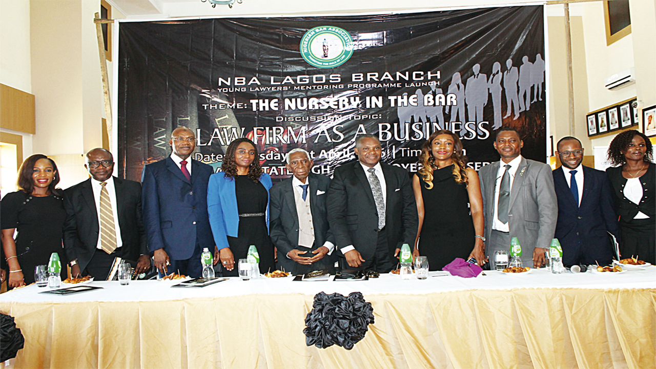 Mrs. Uche Ikwueme, (left) Head, J-K Gadzama Lagos office, B.O. Igwe, former Law School D-G, Dr. Mamman Tahir (SAN), Mrs. Ogwemoh, Pa. Gomez, Mr. George Etomi, Mrs. Harrison Abiola, Mr. Ogunleye, Mr. Wale Irokosu and Kafilat Foluke Abaniwonda at the young lawyers mentoring programme in Lagos…recently.