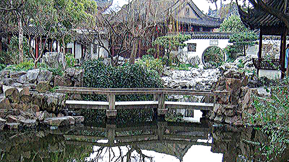 Yuyuan Gardens, Shangai, China, (created 1559), shows elements of classical Chinese garden- architecture, water, vegetation and rocks.