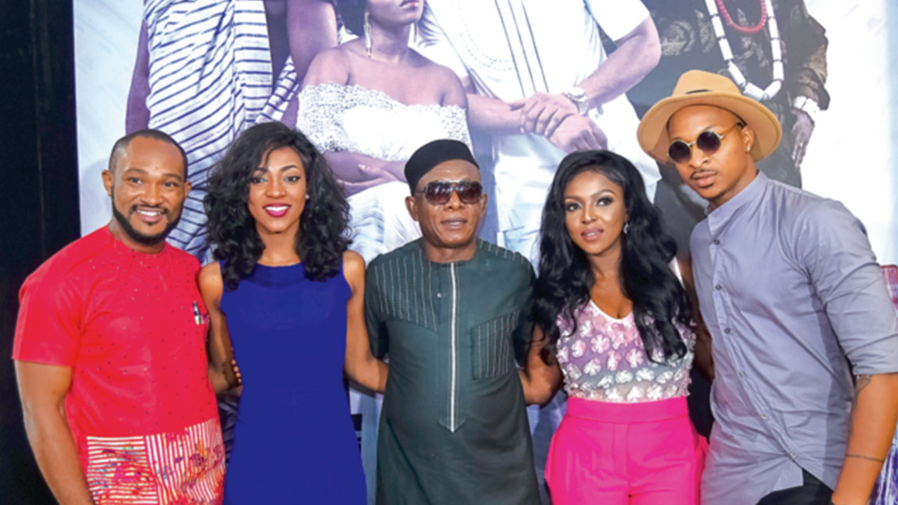 Nkem Owoh, Yvonne Okoro, Blossom Chukwujekwu, IK Ogbonna,Roseline Okoroat themedia screening of Ghana Must Go in Lagos