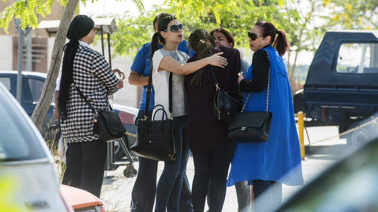 Relatives of passengers of crashed MS804 Egyptair flight at Cairo Airport yesterday. PHOTO: AFP