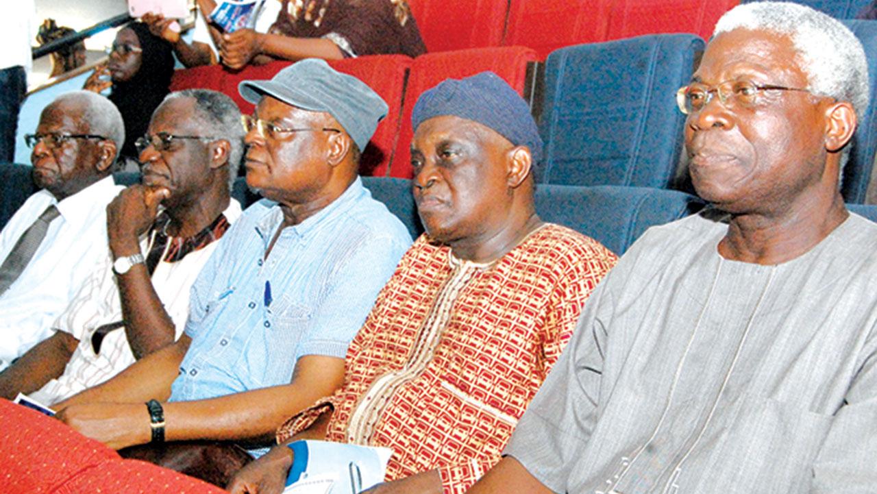 Emeritus Prof Ayo Banjo(left); Managing Director, Book seller, Kunle Musoro; Prof Femi Osofisan; Prof Olu Obafemi and Prof Niyi Osundare at the Niyi Osundare International Poetry Festival held in Ibadan on Thursday PHOTO: NAJEEM RAHEEM