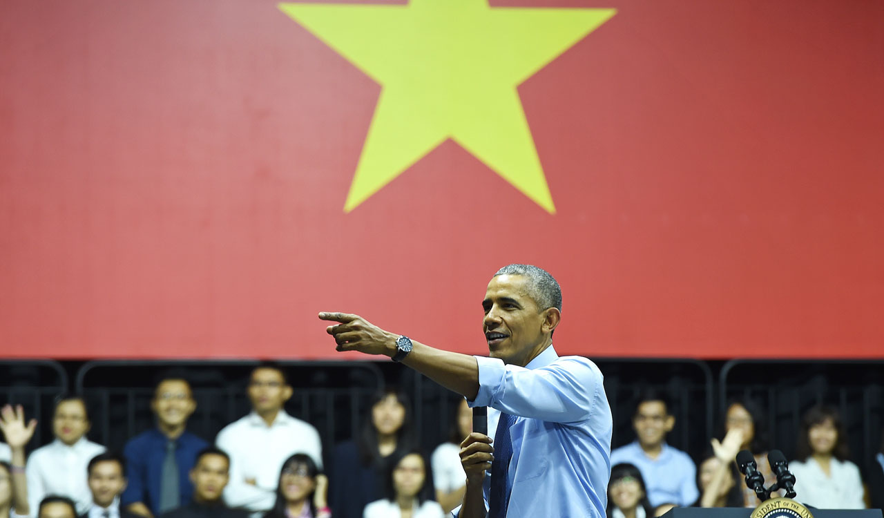 US President Barack Obama speaks at a Young Southeast Asian Leaders Initiative town hall event in Ho Chi Minh City on May 25, 2016. Obama fielded questions on May 25 on everything from rap and weed smoking to leadership and his good looks at a lively town hall-style meeting with young Vietnamese, who say the US leader is a far cry from their staid Communist rulers. / AFP PHOTO / CHRISTOPHE ARCHAMBAULT