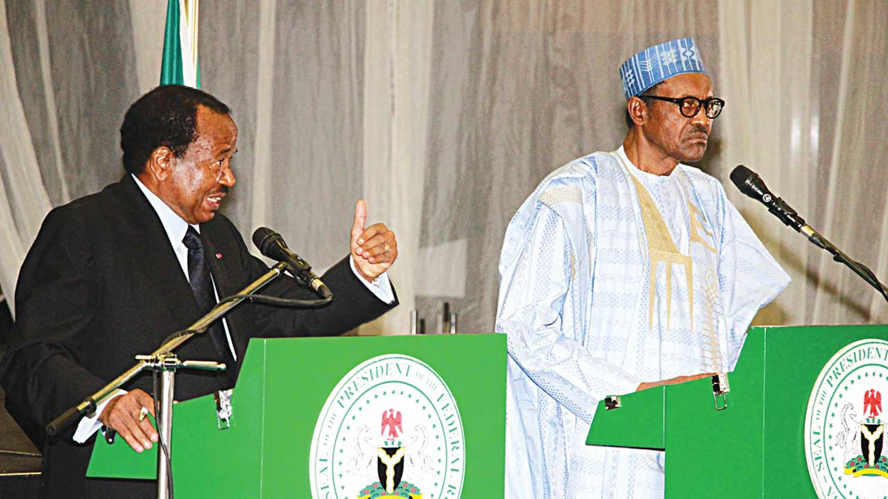 President Muhammadu Buhari (right) with visiting President Paul Biya of Cameroun during the press briefing to end the two-day working visit of the latter to Nigeria in Abuja…yesterday PHOTO: PHILIP OJISUA