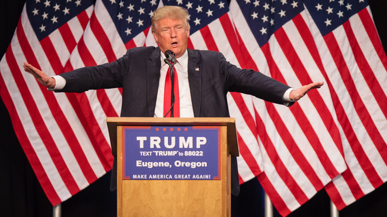 (FILES) This file photo taken on May 05, 2016 shows US Republican presidential candidate Donald Trump addressing supporters in Eugene, Oregon on May 6, 2016.  Donald Trump, the presumptive Republican nominee in the race for the White House, fought May 15, 2016 to stem several controversies including his relationship with women and his refusal to release his tax returns. The billionaire real estate mogul and his backers hit back at a New York Times article that detailed Trump's complex and contradictory history with women.  / AFP PHOTO / Rob Kerr