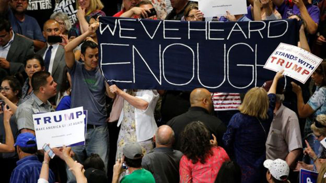 Anti-Trump protesters made their views clear at his rally in Albuquerque, New Mexico…on Tuesday PHOTO: REUTERS