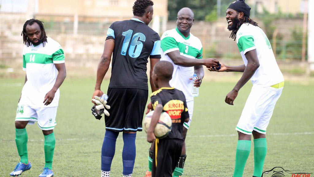 Togo Captain, Emmanuel Adebayor (right) jokes with Abalo, Olufade Adekanmi and Goalkeeper Kossi Agassa, during the football game in honour of the Hawks' former coach, Stephen Keshi…at the weekend.