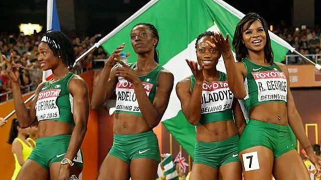Tosin Adeloye, second left, failed drug test
