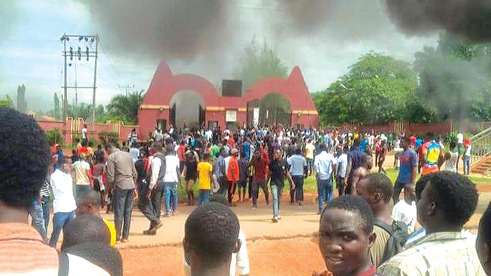Protesting students of Auchi Polytechnic yesterday