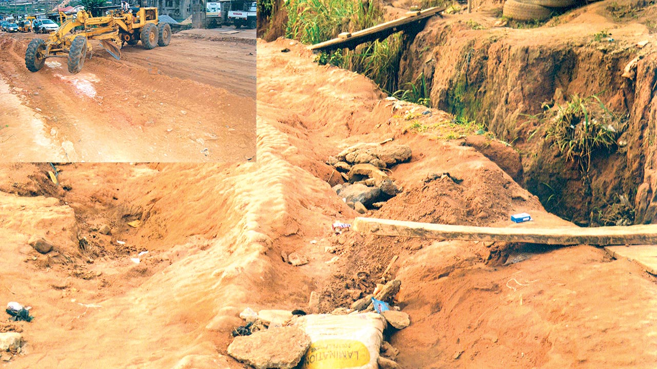 Deplorable state of the road. Inset is an ongoing renovation work on the road