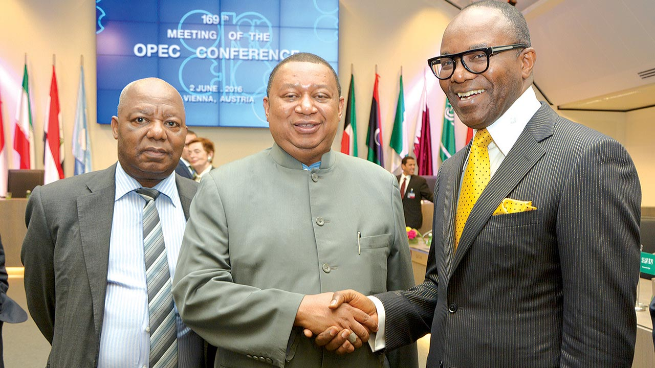 Minister of State for Petroleum Resources, Dr. Ibe Kachikwu (right); newly appointed Secretary General of the Organisation of the Petroleum Exporting Countries (OPEC), Dr. Mohammed Sanusi Barkindo and Head of Chancery, Nigeria Embassy in Austria  Gazing Dangtimat the OPEC Conference in Vienna …yesterday