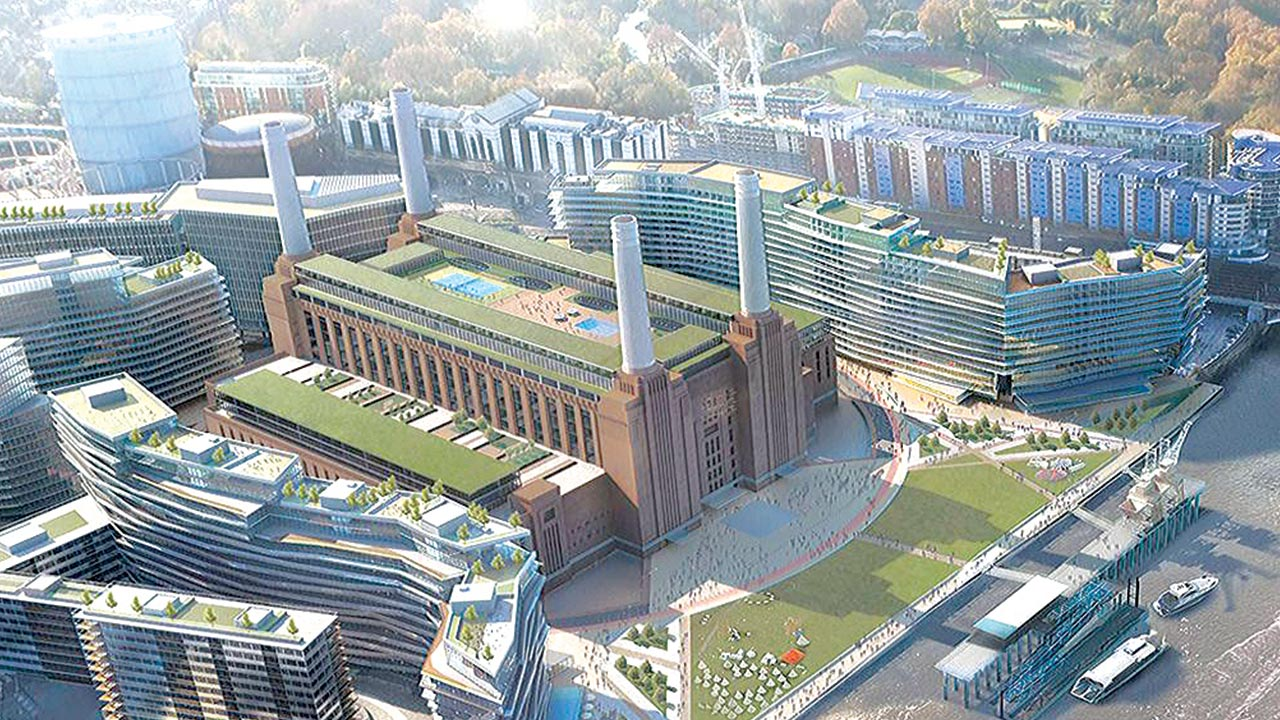 Battersea power station development on the south bank of the River Thames in London