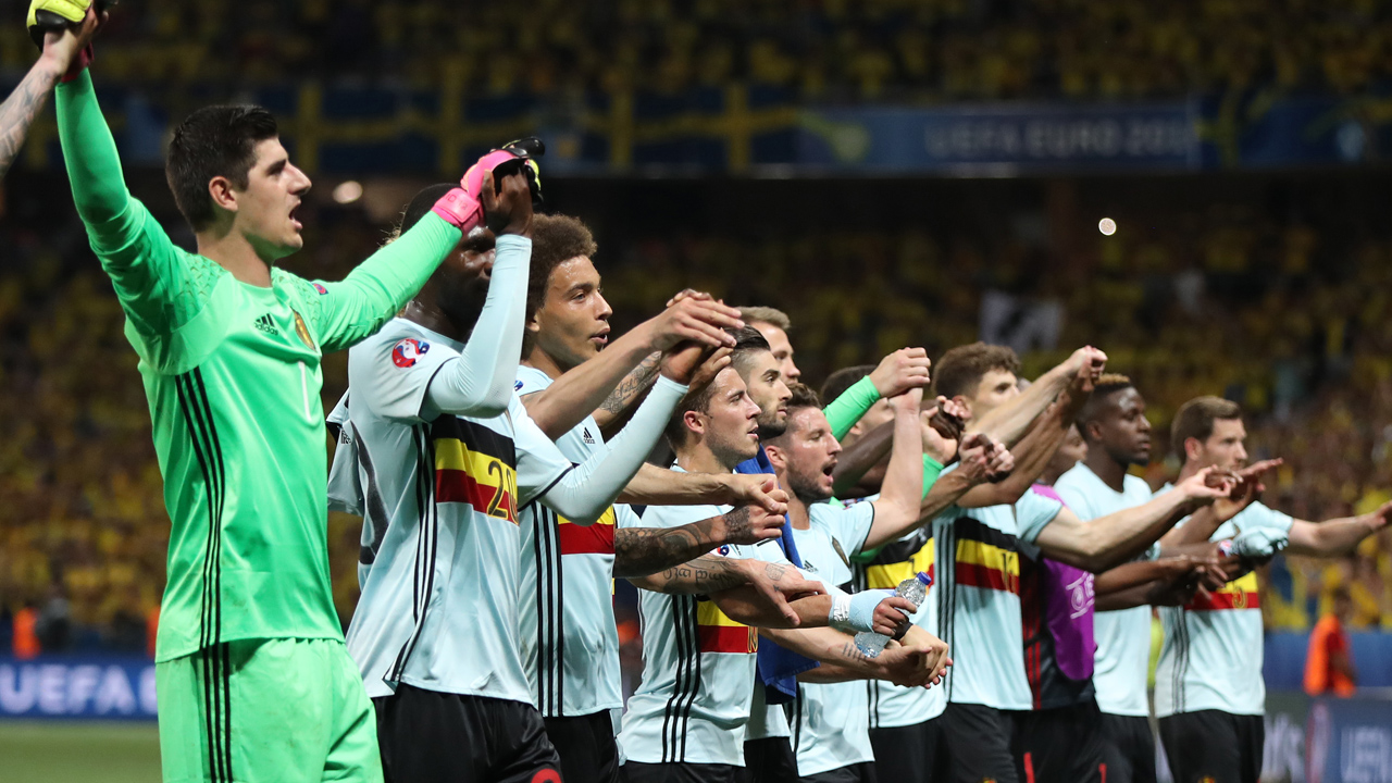 Belgium players acknowledge the crowd after winning 1-0 in the Euro 2016 group E football match between Sweden and Belgium at the Allianz Riviera stadium in Nice on June 22, 2016. PHOTO: AFP/ Valery HACHE