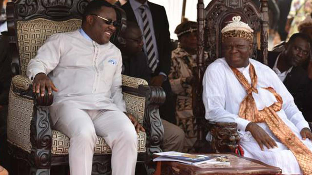 Cross Rivers State Governor, Prof. Ben Ayade and Obong of Calabar, Edidem Ekpo Okon Abasi-Otu.