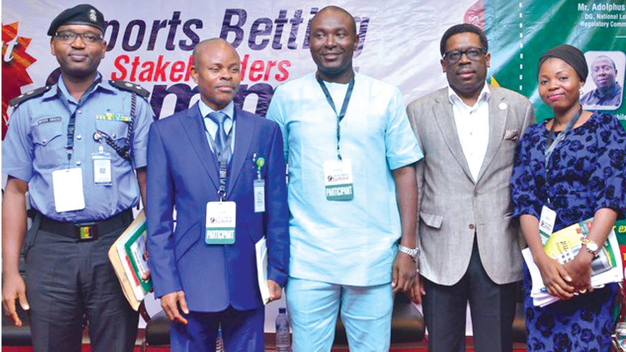Head, Compliant Response Unit, Nigeria Police Force, CSP Abayomi Shogunle (left); Head, Business Development of National Lottery Regulatory Commission, Precious Puanoni; Chairman, ANB, Otunba Akin Alabi; CEO Lagos State Lottery Board, Lanre Gbajabiamila, and Associate, Afe Babalola & Co, Abibat Bankole Apena, at the first Sports Betting Stakeholders Summit held in Lagos…at the weekend.