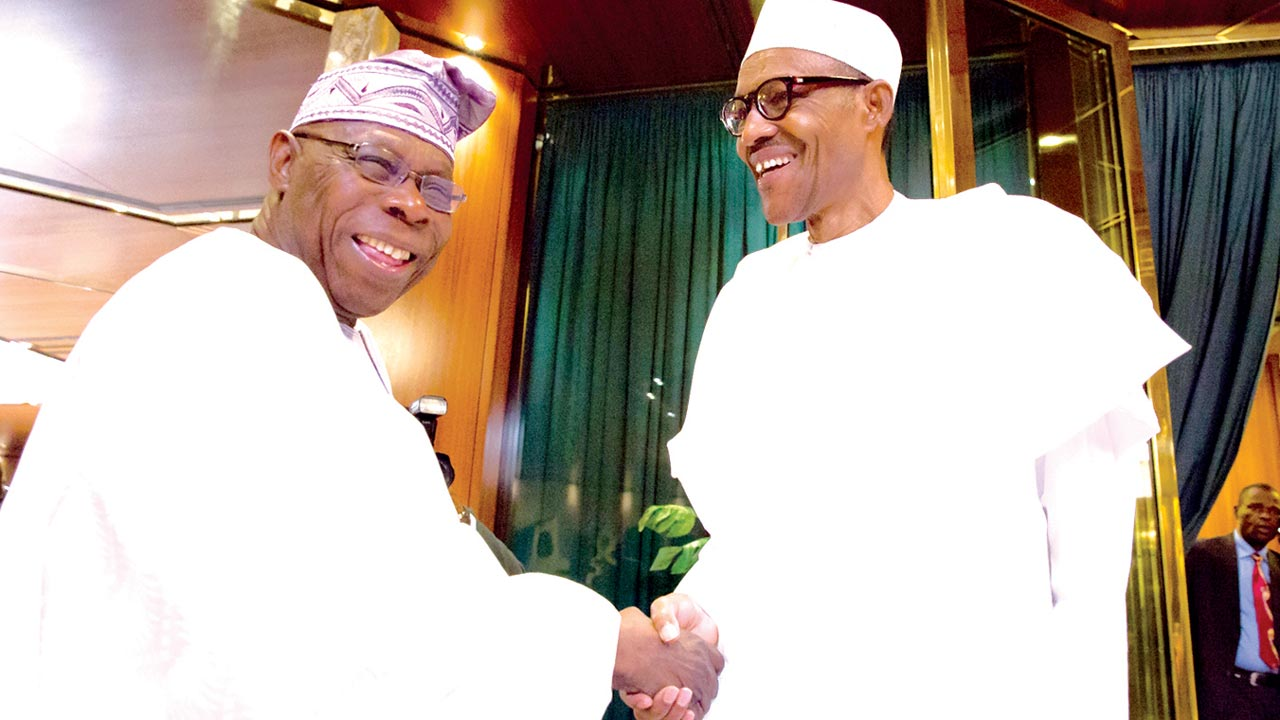 President Muhammadu Buhari receiving former President Olusegun Obasanjo at the State House, Abuja…