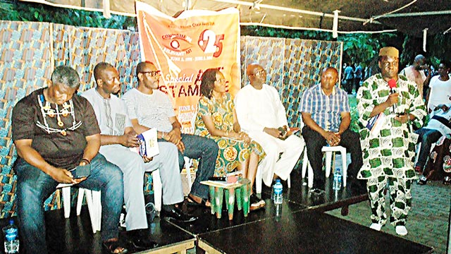 CORA@25 Stampede panelist – Mr. Francis Nwochei; Dr. Tunji Azeez; Mr. Toni Kan; moderator, Ms Molara Wood; Dr. Rueben Abati; Mr. Victor Nwokocha and Mr. Ben Tomoloju addressing the gathering of culture enthusiasts recently at Freedom Park… in Lagos                         PHOTO: CHARLES OKOLO