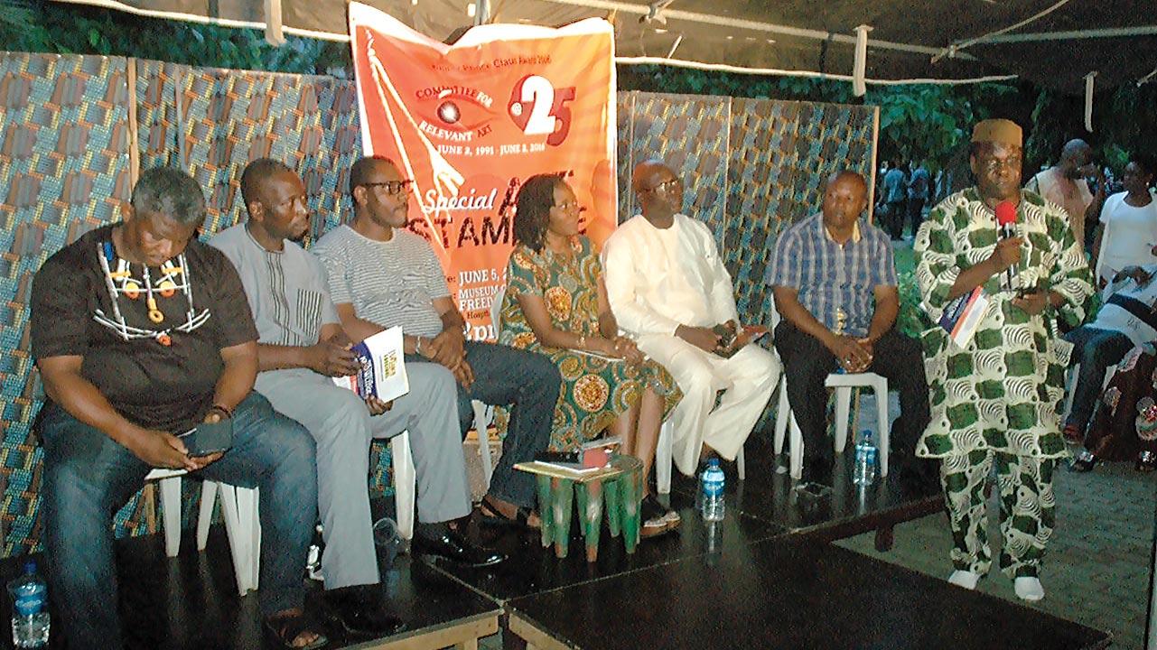 Francis Nwochei (left); Dr. Tunji Azeez; Toni Kan; Molara Wood; Dr. Reuben Abati; Victor Nwokocha; and Ben Tomoloju (on mic standing)… at the CORA event on June 2, 2016 at the Freedom Park, Lagos
