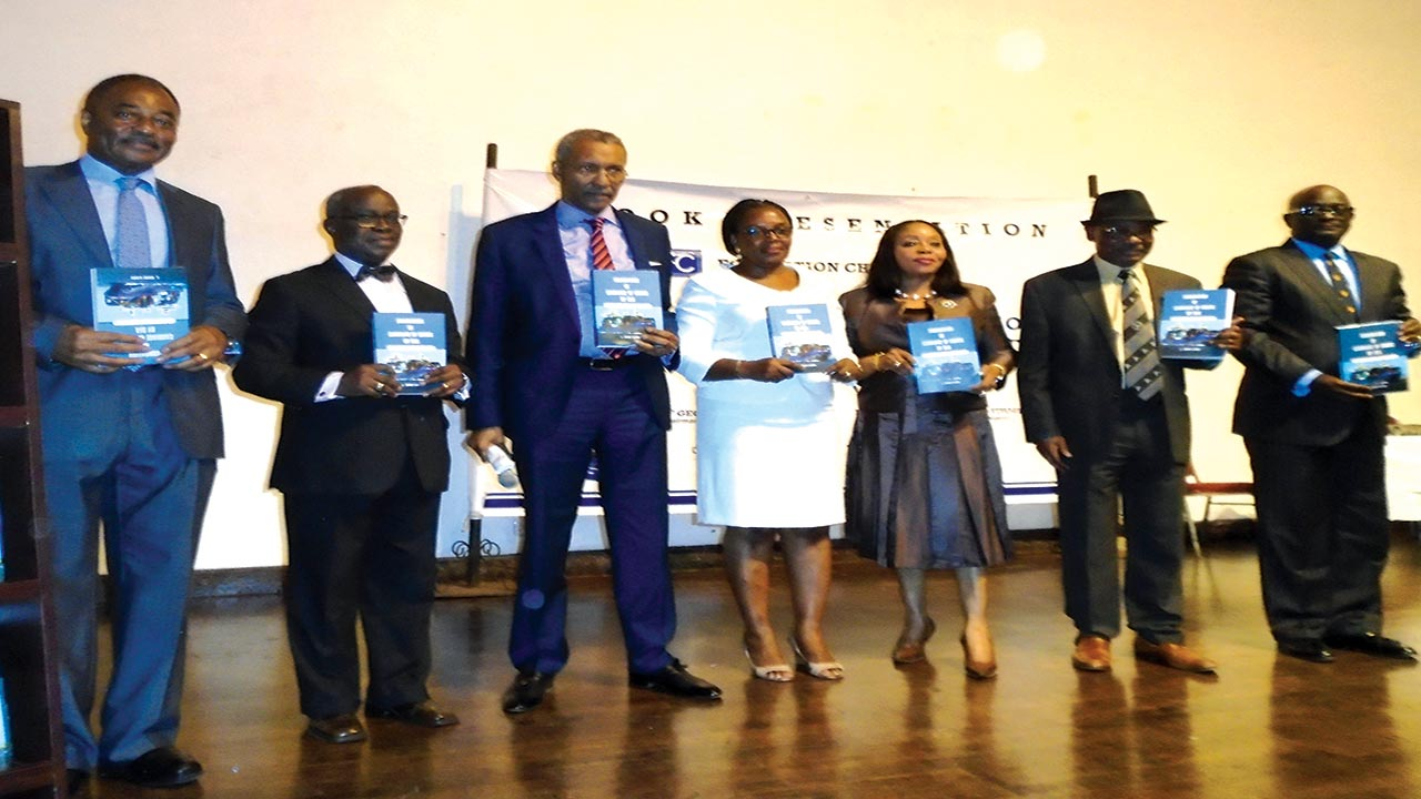 "Foremost maritime lawyer, Mr. Lious Mbanefo (SAN) (left); author of the book, Mr. Chidi Ilogu (SAN); Justice of Supreme Court of Nigeria, Bode Rhodes-Vivour; authors wife, Amaka Ilogu; a judge of the federal high court, Mrs. Mojisola Olateregu-Ishola, former chairman of Body of Benchers, Chief George Uwechue (SAN) and the book reviewer, Dr. Adewale Olawoyin (SAN) at the public presentation of ""Foundation of Carriage of Goods by Sea- The Nigerian Perspective"" in Lagos on Friday. PHOTO: JOSEPH ONYEKWERE"