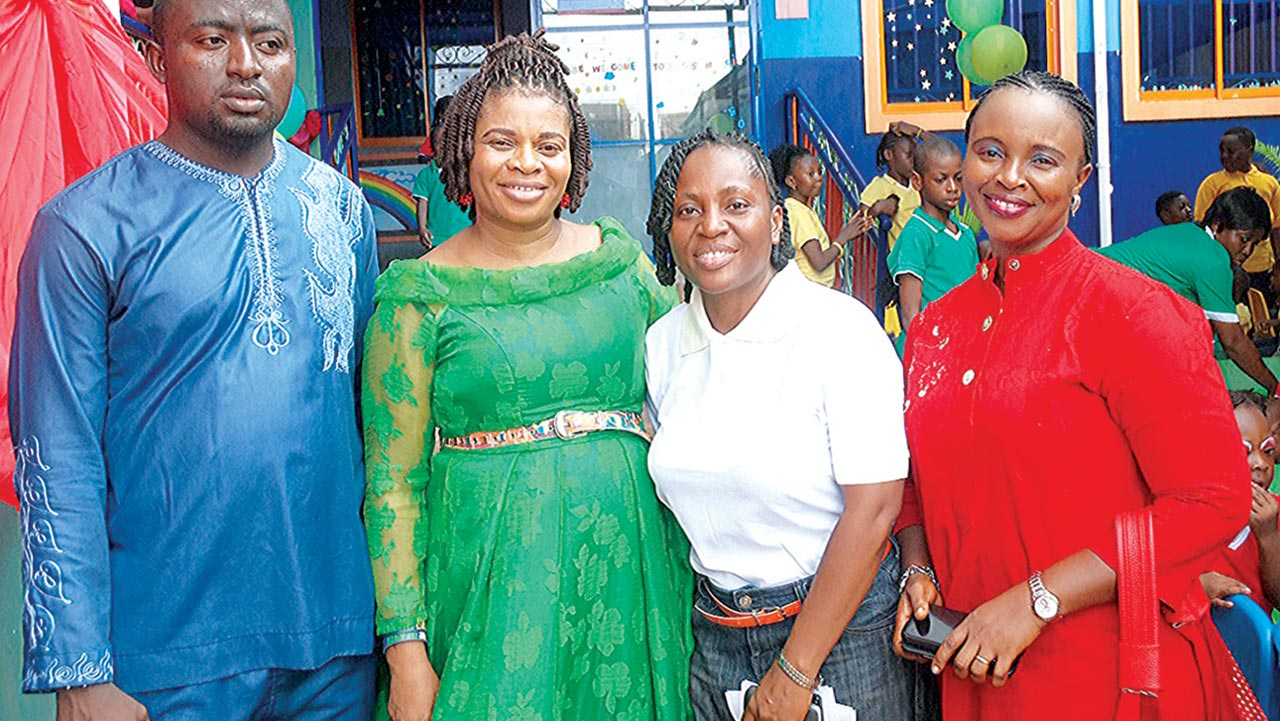 Judge of the Colour Day Competition, Solomon Bello; Director, Louis and Lois Academy, Mrs. Kate Asekhauno; Head of School, Mrs. Popoola Olufunmilola, and  a parent,  Mrs. Inametti Akpevwe at the Colour Day celebration of the school in Lagos PHOTO: SUNDAY AKINLOLU