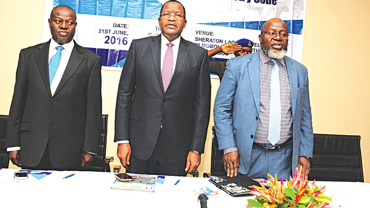 Commission Secretary, Nigerian Communications Commission (NCC), Felix Adeoye (left); Executive Vice Chairman, NCC, Prof. Umar Garba Danbatta; and Minister of Communications, Barr. Adebayo Shittu, during the Corporate Governance Forum held in Lagos, on Tuesday.