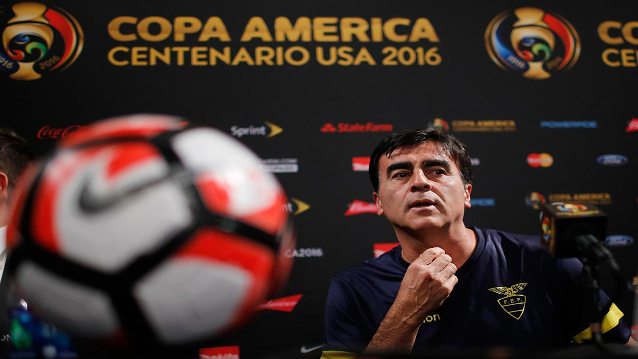 Gustavo Quinteros, coach of Ecuador speaks during a press conference at MetLife Stadium in East Rutherford, New Jersey on June 11, 2016, one day before their COPA America 2016 match against Haiti. EDUARDO MUNOZ ALVAREZ / AFP