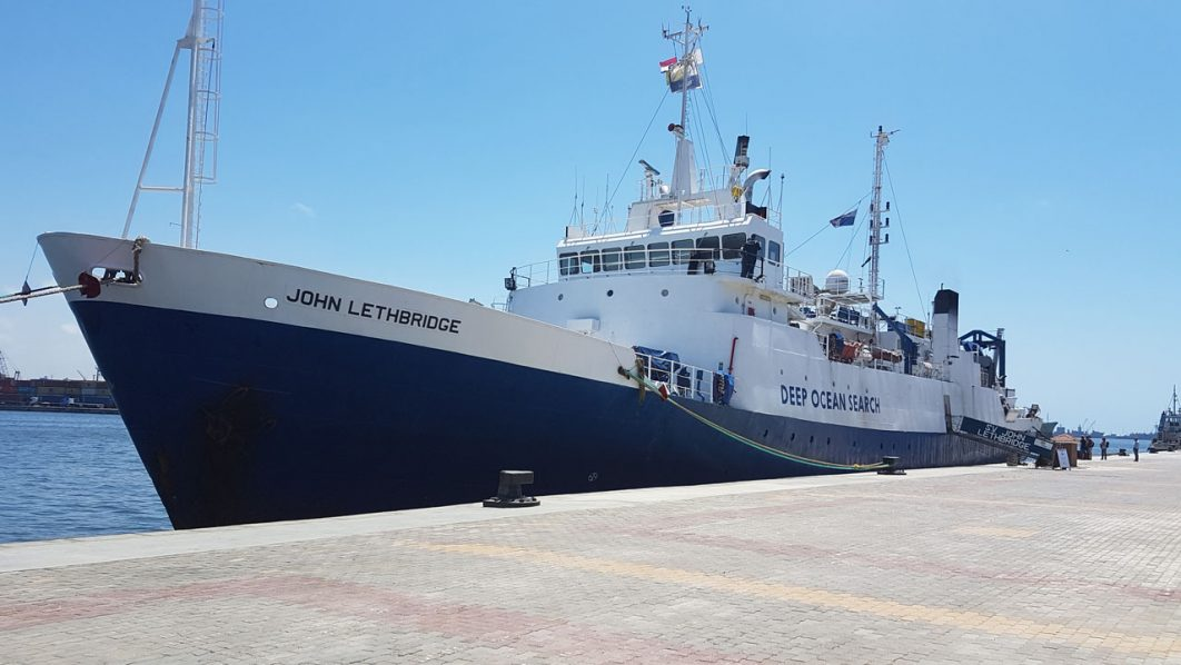 A handout picture provided on June 16, 2016, by Deep Ocean Search Ltd (DOS) shows the John Lethbridge research vessel moored in the port of Alexandria on June 9, 2016, after it arrived in Egypt to begin searching the Mediterranean for the wreck of the EgyptAir Airbus A320 that crashed on May 19. A search team of the John Lethbridge on June 16, 2016, recovered the cockpit voice recorder from the EgyptAir plane, in a major step towards establishing the cause of the tragedy. / AFP PHOTO / DEEP OCEAN SEARCH LTD / F.BASSEMAYOUSSE /