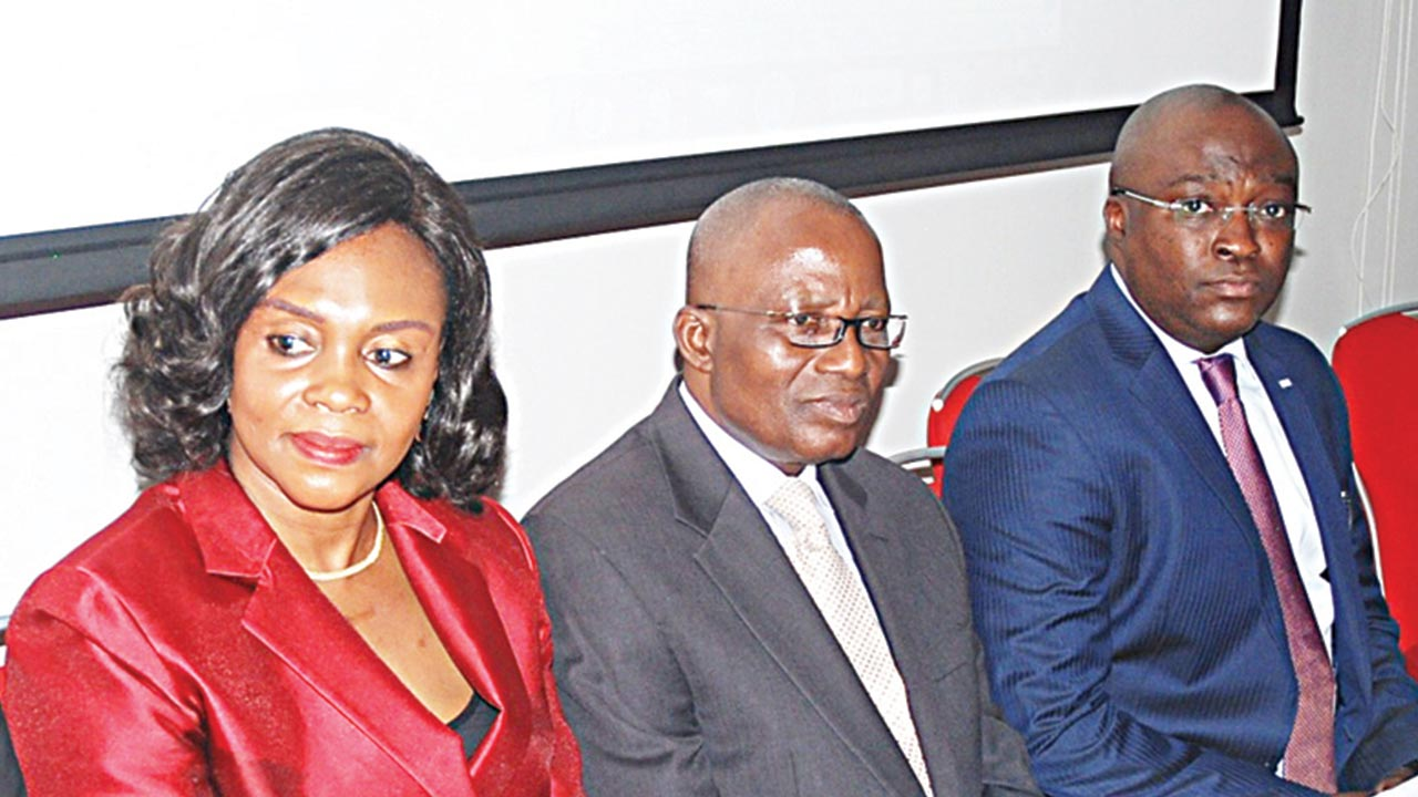 Head, Cash Management Operations, Citibank Nigeria Limited, Mrs Chika Sanni(right); Former Secretary, FMDQ, Wale Abe; and Senior Vice President Divisional head. Market Operations and Technology, FMDQ OTC Securities Exchange, Dipo Odeyemi at the Treasury Support Workgroup's Maiden Seminar in Lagos