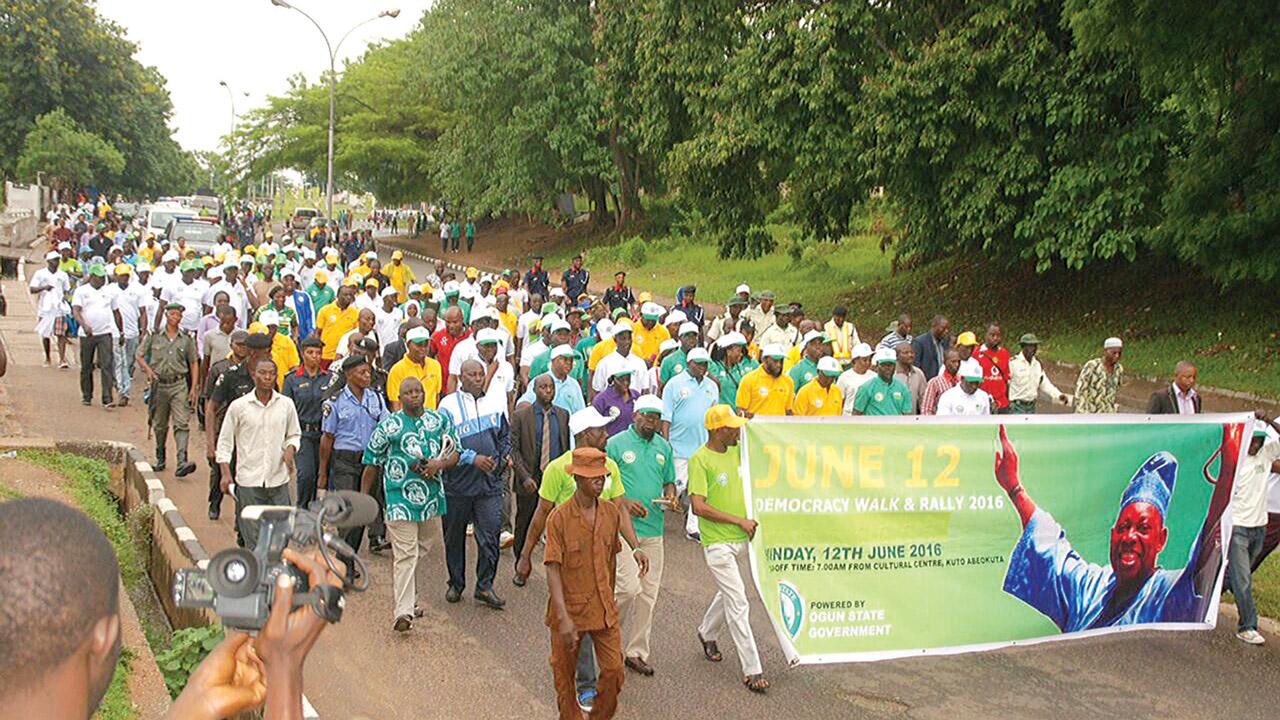 A rally in Abeokuta to mark June 12 anniversary…yesterday PHOTO: DAMILOLA ADEBESIN