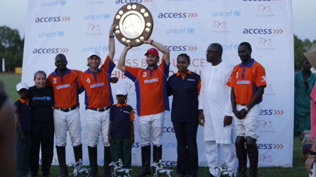 Access Bank-Fifth Chukker Polo Club displaying the Access Bank-UNICEF Polo Charity Shield after beating MRS to emerge champions of the prestigious tournament in Kaduna…on Sunday.