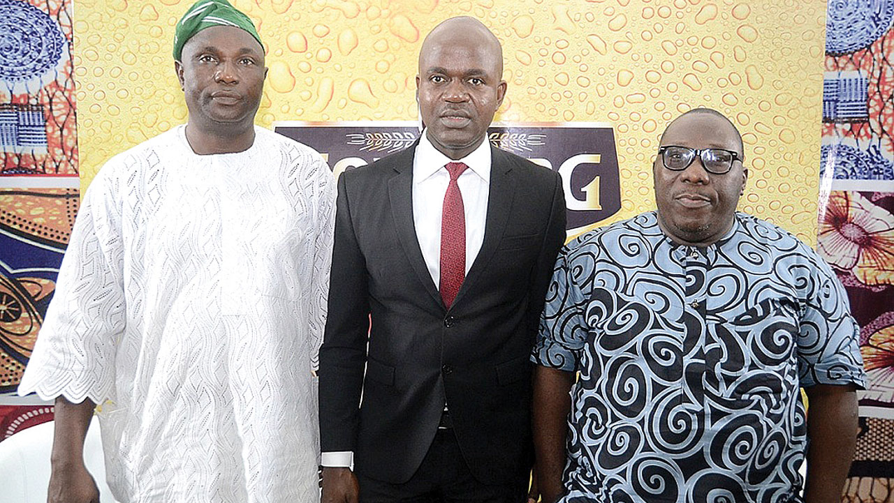 From left: Chairman, National Project Committee of the Fuji Musicians Association of Nigeria (FUMAN), Sikiru Ayinde Agboola (a.k.a SK Sensation); Portfolio Manager, Mainstream Lager and Stout brands, Nigerian Breweries Plc, Emmanuel Agu, and Olawale Obadeyi, Fuji analyst and poet, at the maiden Fuji Roundtable, powered by Goldberg Lager on Monday.