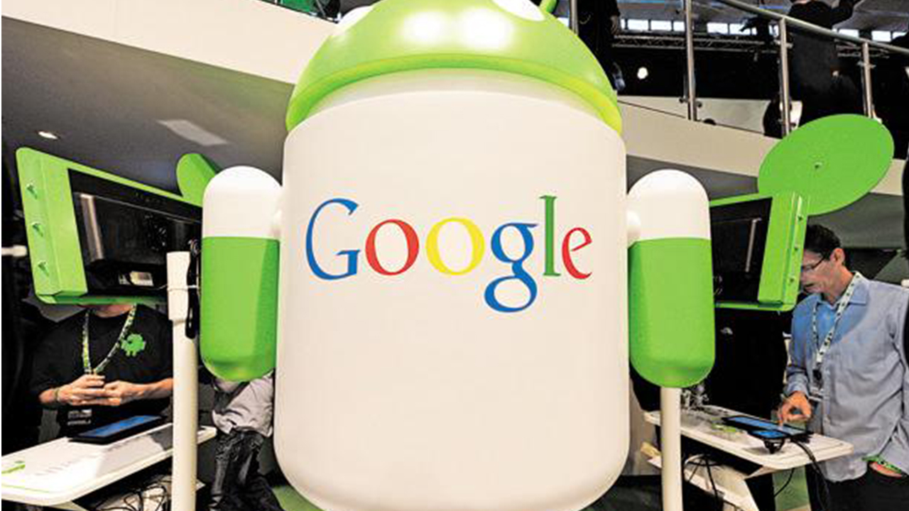 A Google Inc. logo is seen on an Android operating system display at the Mobile World Congress in Barcelona. Photo: Denis Doyle/Bloomberg