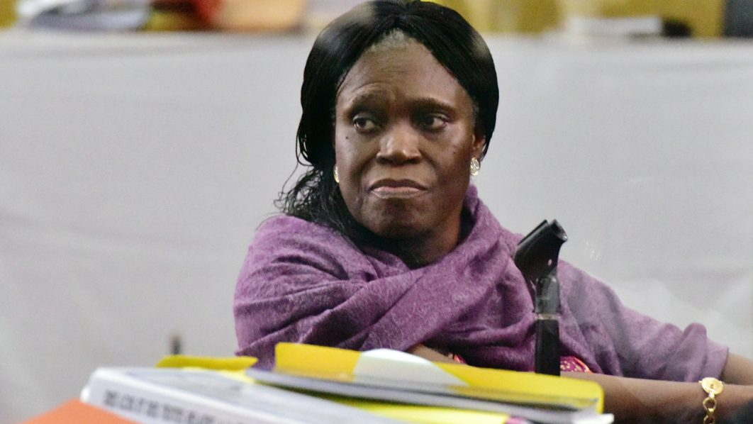 Ivory Coast's former first lady Simone Gbagbo looks on during the second day of her trial on June 1, 2016, at the appeal court in Abidjan.  / AFP PHOTO / ISSOUF SANOGO
