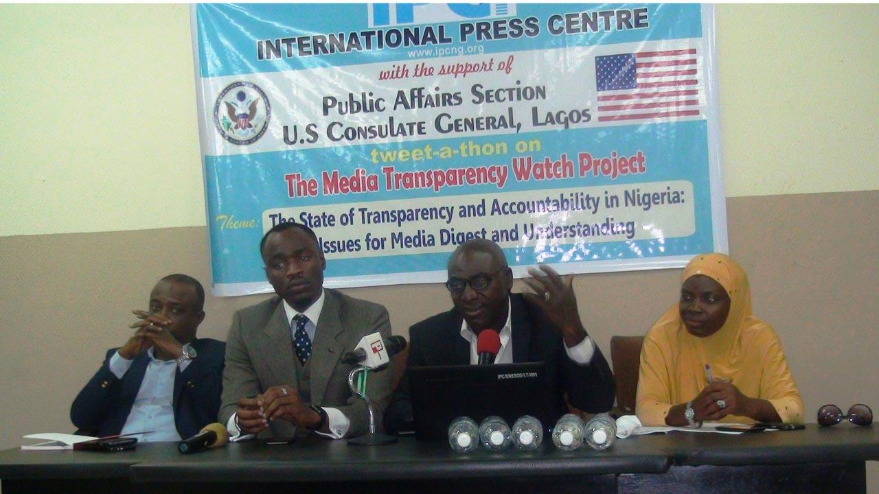The Deputy Editor, Vanguard Newspaper, Eze Anaba; the representative of the lead speaker, Jake Okechukwu Effoduh; the Director, IPC, Lanre Arogundade and the Sekinal Lawal at the tweet conference