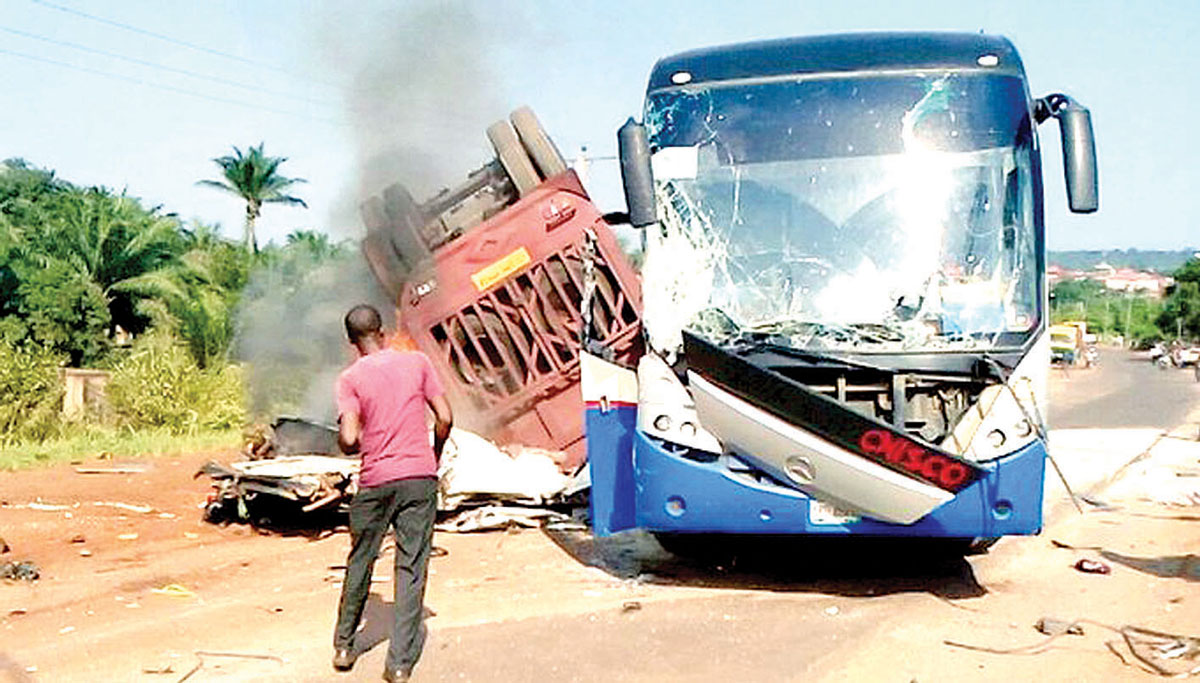 Ikorodu United bus at the scene of the accident at Ninth Mile, Enugu, yesterday