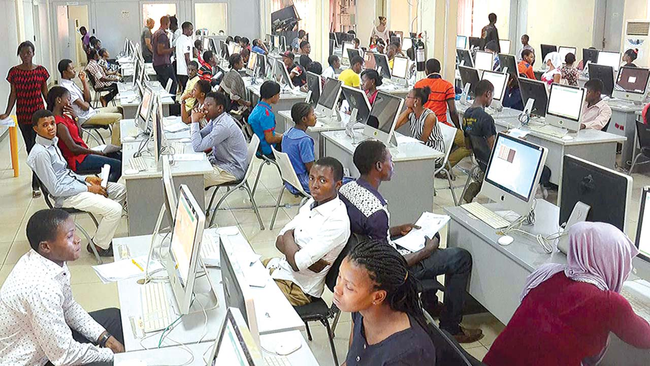 Candidates at a typical computer-based test centre
