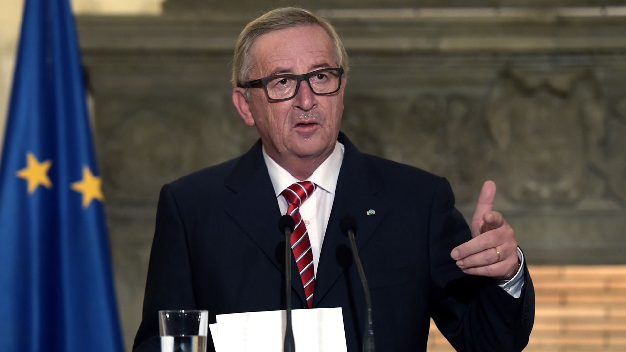 President of the European Commission Jean-Claude Juncker.  / AFP PHOTO / ARIS MESSINIS