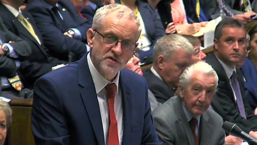 A video grab from footage broadcast by the UK Parliament's Parliamentary Recording Unit (PRU) shows British opposition Labour Leader Jeremy Corbyn address MPs in the House of Commons in London on June 29, 2016. European leaders met Wednesday without Britain for the first time in 40 years to prepare for life after the Brexit bombshell, as the race began to succeed Prime Minister David Cameron. Britain has been pitched into uncertainty by the result of the June 23 referendum, with Cameron announcing his resignation, the economy facing a string of shocks and Scotland making a fresh threat to break away. / AFP PHOTO / PRU / HO /