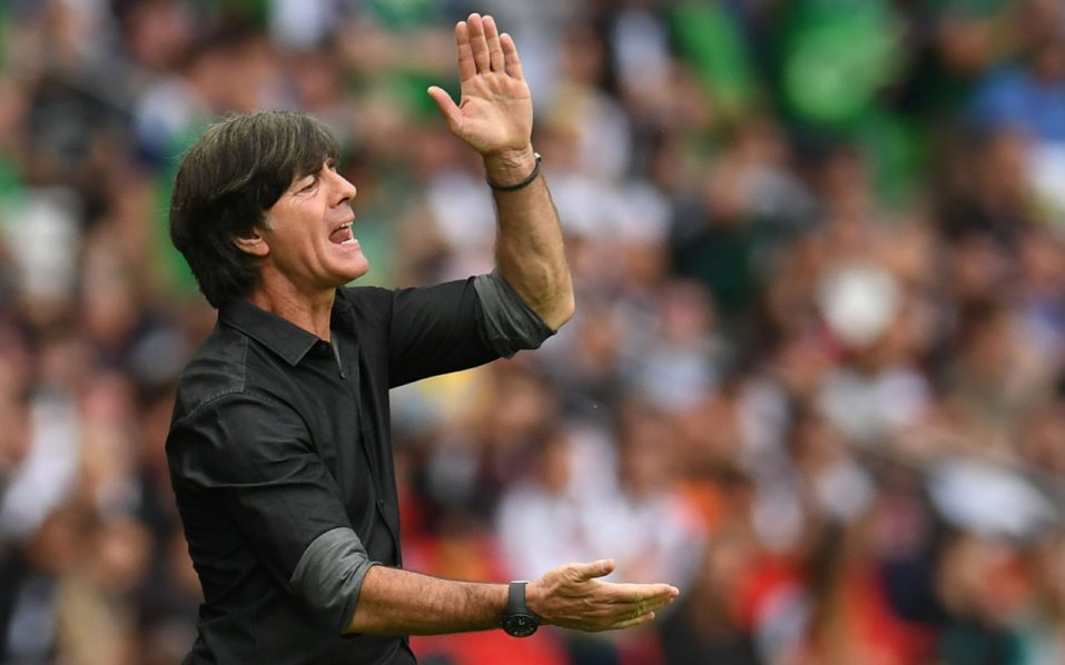 Germany's coach Joachim Loew gestures during the Euro 2016 group C football match between Northern Ireland and Germany at the Parc des Princes stadium in Paris on June 21, 2016. / AFP PHOTO / PATRIK STOLLARZ