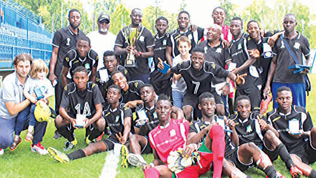 Abuja Football College celebrating their defeat of Real Madrid juniors at the U19 Mladen Ramljak tournament…at the weekend.