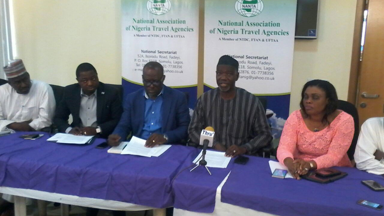 Second Deputy President, National Association of Nigerian Travel Agencies (NANTA), Kabir Maiwada (left); National Publicity Secretary, Olumuyiwa Salami; National President, Bankole Bernard; National treasurer, Zackary Abdulllahie; First Deputy President, Susan Akporiaye and Vice-president North, Aliyu Abdullhahi at the NANTA press briefing held in Lagos recently