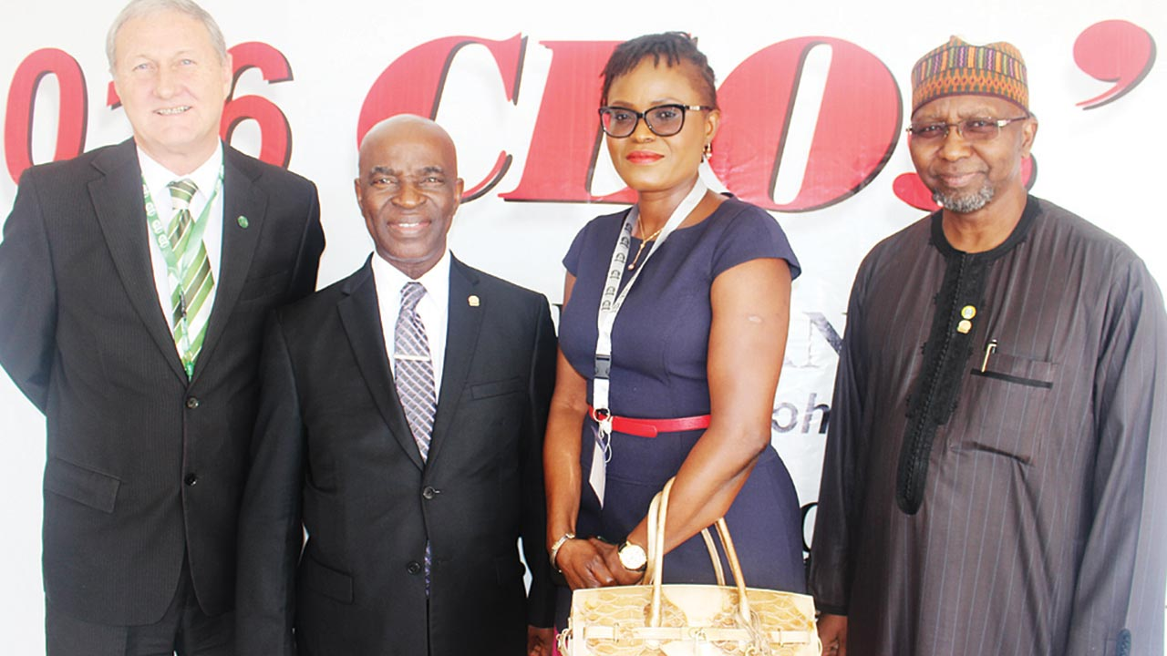 Managing Director, Old Mutual Life Assurance Company Limited, Keith Alford (left); President, Nigerian Council of Registered Insurance Brokers (NCRIB), Kayode Okunoren; Managing Director, Old Mutual General Insurance Company Limited, Mrs. Rachel Emenike and the Commissioner for Insurance, Alhaji Muhhamed Kari at the NCRIB CEOs' retreat held in Ilesa, Osun State