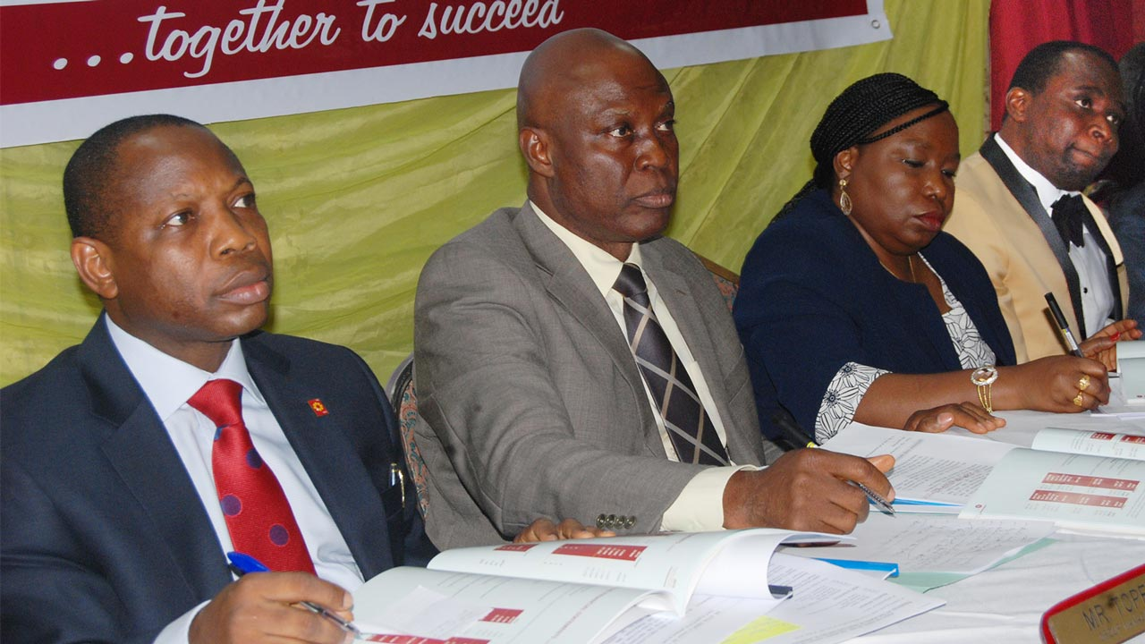 Group Managing Director/CEO, NEM Insurance Plc, Tope Smart (left); Chairman of Board, Dr. Fidelis Ayebae; Company Secretary, Mrs. Omolara Oyetunde; and a Director, Kolawole Teluwo, at the 46th yearly general meeting of the company in Lagos.