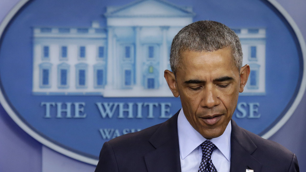 US President Barack Obama makes a statement on the mass shooting at an Orlando, Florida nightclub in the White House Briefing Room in Washington, DC on June 12, 2016. Fifty people died and another 53 were injured when a gunman opened fire and seized hostages at a gay nightclub in Florida, police said Sunday, making it the worst mass shooting in US history. / AFP PHOTO / YURI GRIPAS