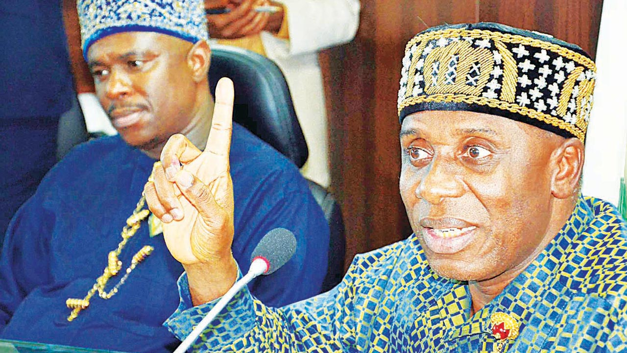 Minister of Transportation, Chibuike Amaechi (right) and Director-General, Nigeria Maritime Administration and Safety Agency, Dakuku Peterside, at the submission of the report of the Ministerial Committee on Modality for the Establishment of the National Fleet (Shipping Line), in Abuja …yesterday.                                        PHOTO: NAN